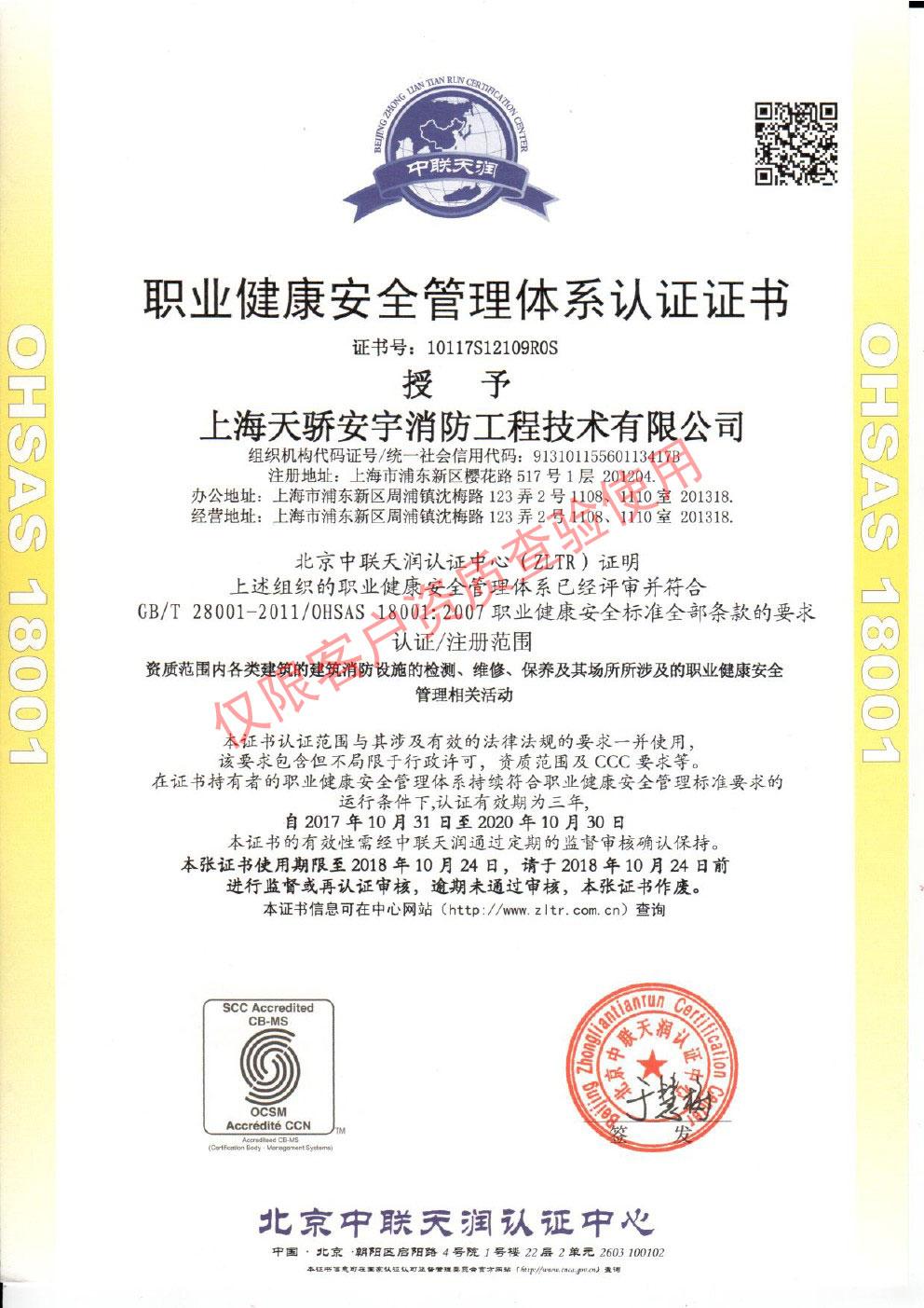 天骄职业健康安全管理体系认证证书